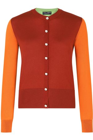 Dolce & Gabbana Senhora Camisolas - Colour-block silk cardigan