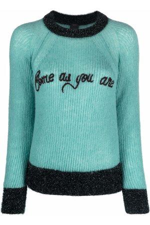 Pinko Senhora Camisolas - Slogan-detail lurex-knit sweater