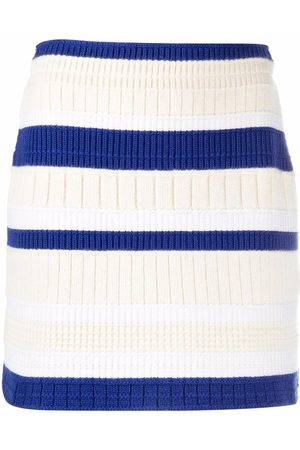Barrie Stripe-pattern cashmere skirt