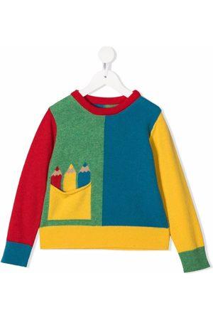 Stella McCartney Menina Tops de Cavas - Pencil-intarsia colour-block jumper