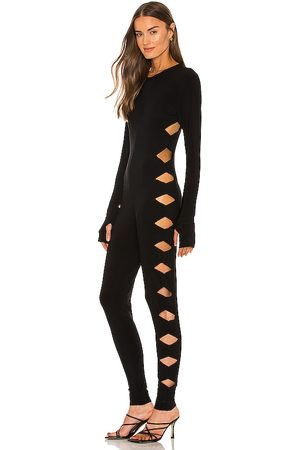 Norma Kamali Long Sleeve Crew Neck Alligator Catsuit in - . Size L (also in M, S, XS).