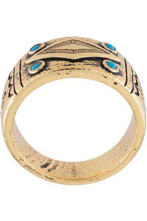 Nialaya Jewelry Homem Anéis - Engraved onyx ring