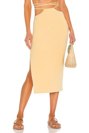 WeWoreWhat Cutout Midi Skirt in - Lemon. Size L (also in M, S, XS).