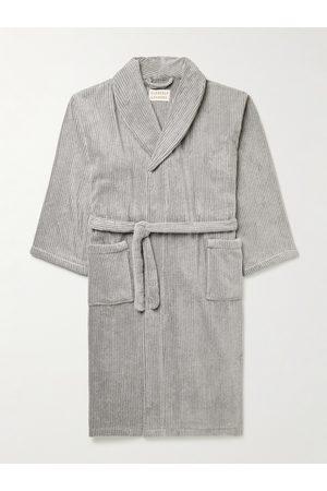 Cleverly Laundry Homem Roupões de Banho - Pinstriped Cotton-Terry Robe
