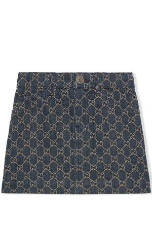 Gucci Kids Menina Saias de Ganga - GG jacquard denim skirt