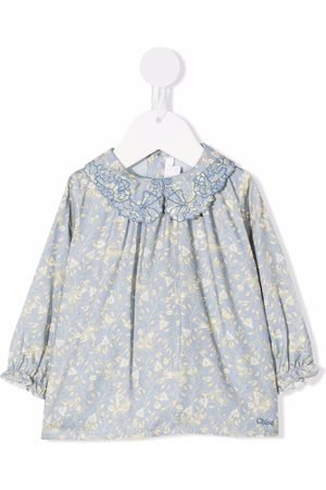 Chloé Embroidered-collar floral blouse