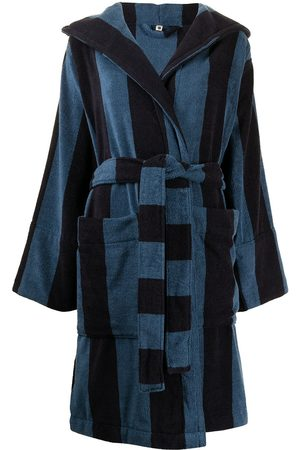 Tekla Striped terry hooded bath robe
