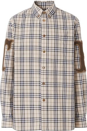 Burberry Letter-graphic check-print shirt