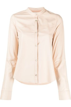 FORTE FORTE Band collar snap-fastening shirt