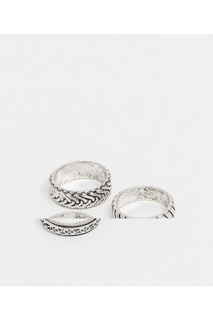 ASOS DESIGN 3 pack band ring set with embossing in burnished silver tone