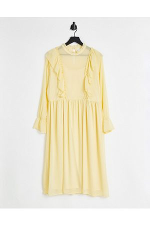 VILA Recycled midi dress with frill detail in yellow