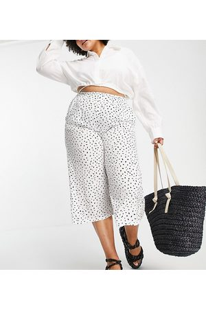 Simply Be Polka dot cullote trousers in white