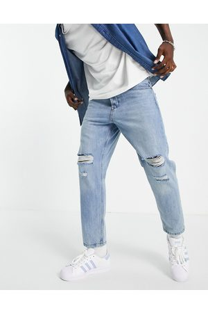 Only & Sons Tapered fit jean with rips in light bluewash