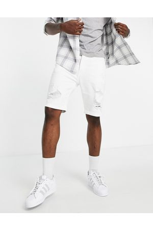 Hollister Skinny fit distressed denim shorts in white