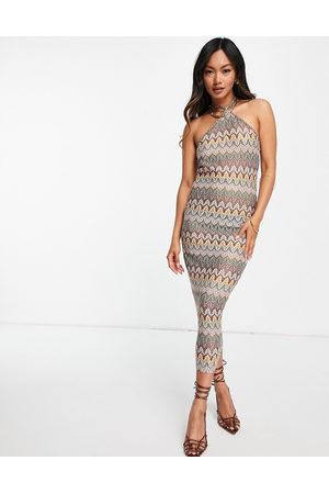 ASOS DESIGN 70's crochet skinny halter midi dress in multi colour