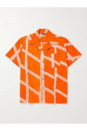 Post-Imperial Ijebu Camp-Collar Checked Broderie Anglaise Cotton Shirt