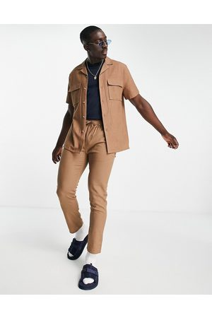 ASOS Co-ord linen mix relaxed fit shirt in brown