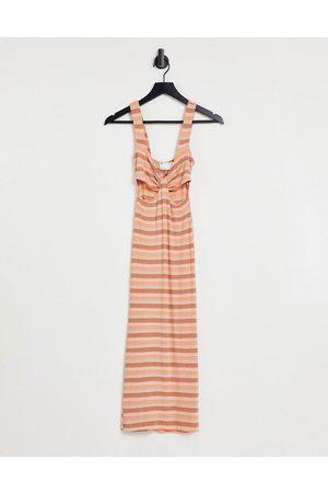 ASOS Cut out midi in tonal brown stripe
