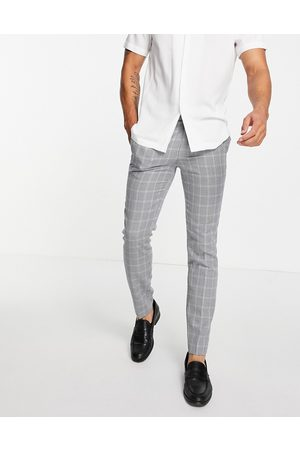 Topman Skinny fit check suit trouser in grey