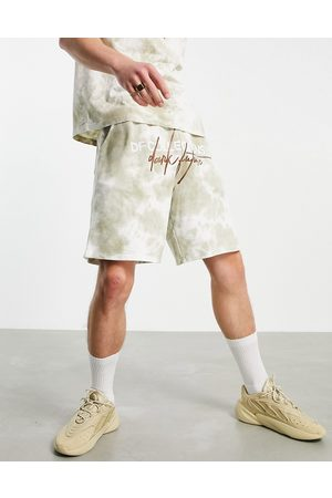 ASOS Dark Future Homem Calções - Co-ord short in washed brown with logo embroidery