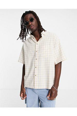ASOS DESIGN Boxy oversized button down shirt in orange check