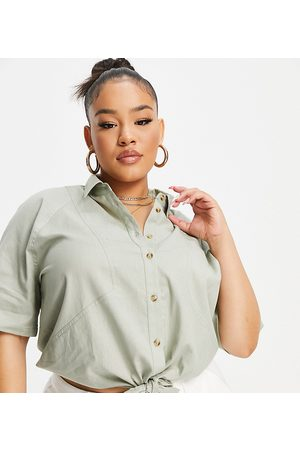 ASOS Curve ASOS DESIGN Curve linen short sleeve shirt with tie front in washed khaki-Green