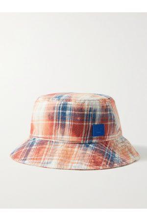 Acne Studios Homem Chapéus - Logo-Appliquéd Checked Cotton-Flannel Bucket Hat
