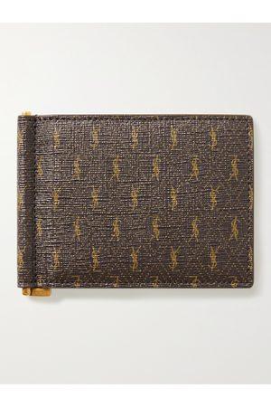 SAINT LAURENT Monogrammed Coated-Canvas Billfold Wallet with Money Clip