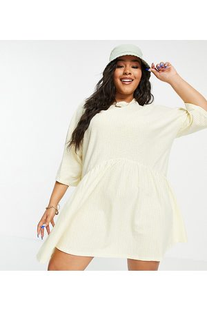 ASOS Curve oversized mini smock dress with dropped waist in mustard and white stripe-Yellow