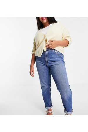 ASOS ASOS DESIGN Curve high rise 'farleigh' slim mom jeans in authentic midwash-Blue