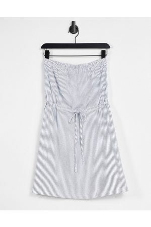 ASOS DESIGN Mini bandeau sundress with drawstring waist in navy and white stripe