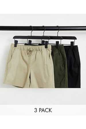 ASOS DESIGN 3 pack slim chino shorts with elasticated waist save-Multi