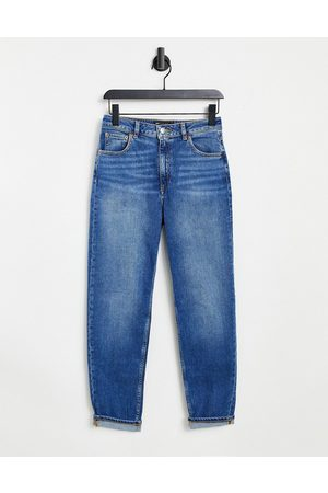 ASOS High rise farleigh 'slim' mom jeans in authentic midwash-Blue