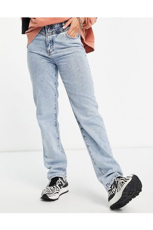 NA-KD Organic cotton contrast detail straight leg jeans in blue