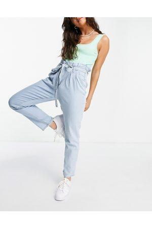 In The Style X Jac Jossa paper bag waist jean in blue