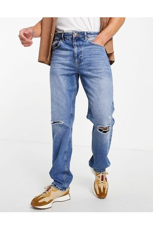 ASOS DESIGN Homem Retos - Straight leg jeans in vintage mid wash with knee rips-Blue