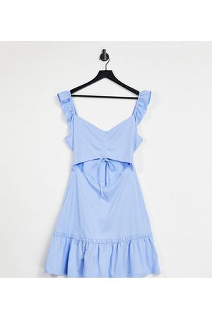 ASOS DESIGN Tall cut out sundress with ruffle shoulder in chambray blue
