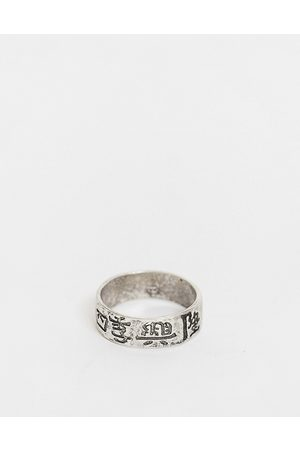 ASOS DESIGN Band ring with chinese characters in silver tone