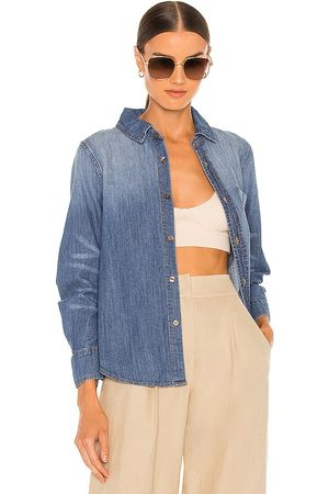 JONATHAN SIMKHAI Ryder Denim Pleated Sleeve Top in - Blue. Size L (also in XS, S, M).