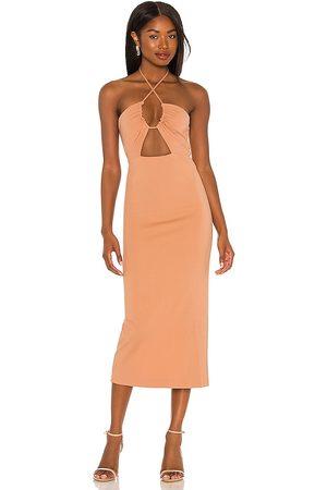 NBD Iona Midi Dress in - Tan. Size L (also in XXS, XS, S, M, XL).