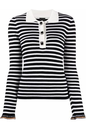 Pinko Striped ribbed-knit polo top