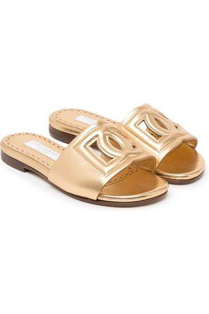 Dolce & Gabbana Kids Logo-detail metallic-effect sandals