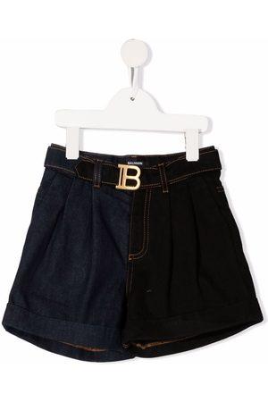 Balmain Kids Logo-buckle shorts