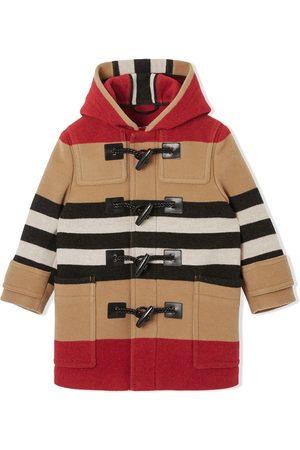 Burberry Kids Icon stripe duffle coat
