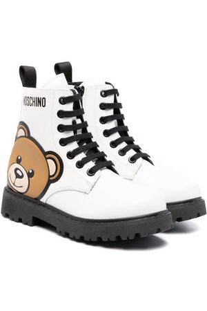 Moschino Kids Teddy bear-print lace-up boots