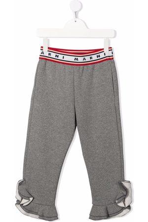 Marni Kids Jersey ruffle-cuff trousers