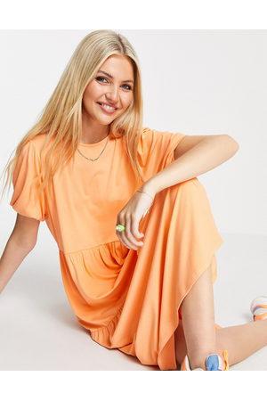 ASOS Tiered smock t-shirt midi dress in coral-Orange