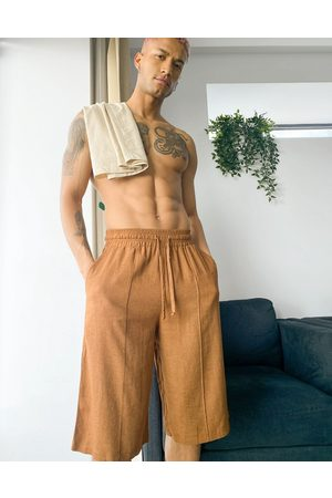ASOS DESIGN Lounge linen look shorts in brown
