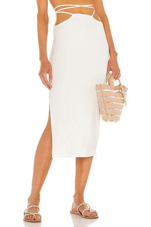 WeWoreWhat Senhora Saias Midi - Cutout Midi Skirt in - White. Size L (also in XS, S, M).