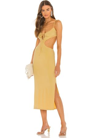 WeWoreWhat Ruched Cutout Maxi Dress in - Neutral. Size L (also in XS, S, M).